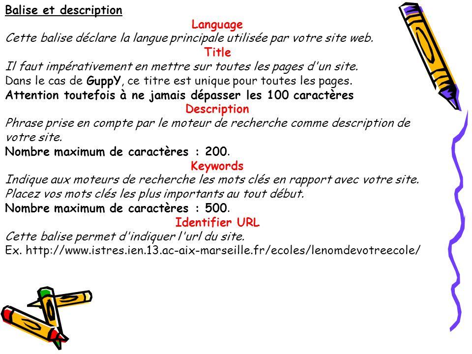 Balise et description Language Cette balise déclare la langue principale utilisée par votre site web.