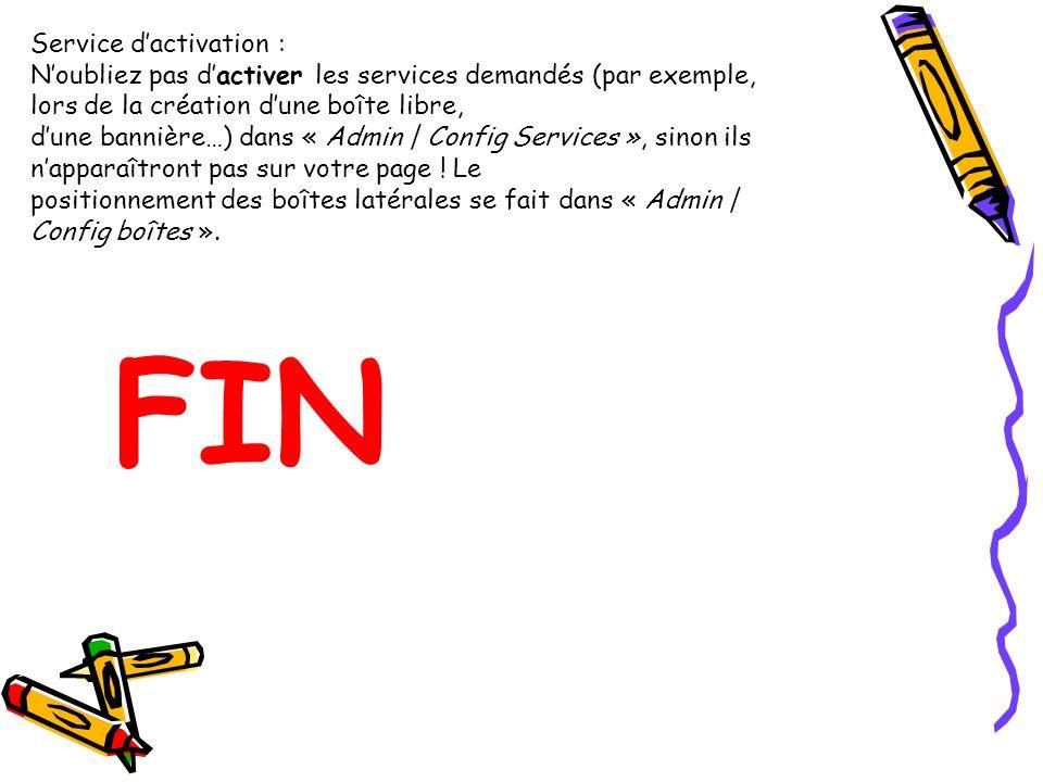 Service dactivation : Noubliez pas dactiver les services demandés (par exemple, lors de la création dune boîte libre, dune bannière…) dans « Admin | Config Services », sinon ils napparaîtront pas sur votre page .