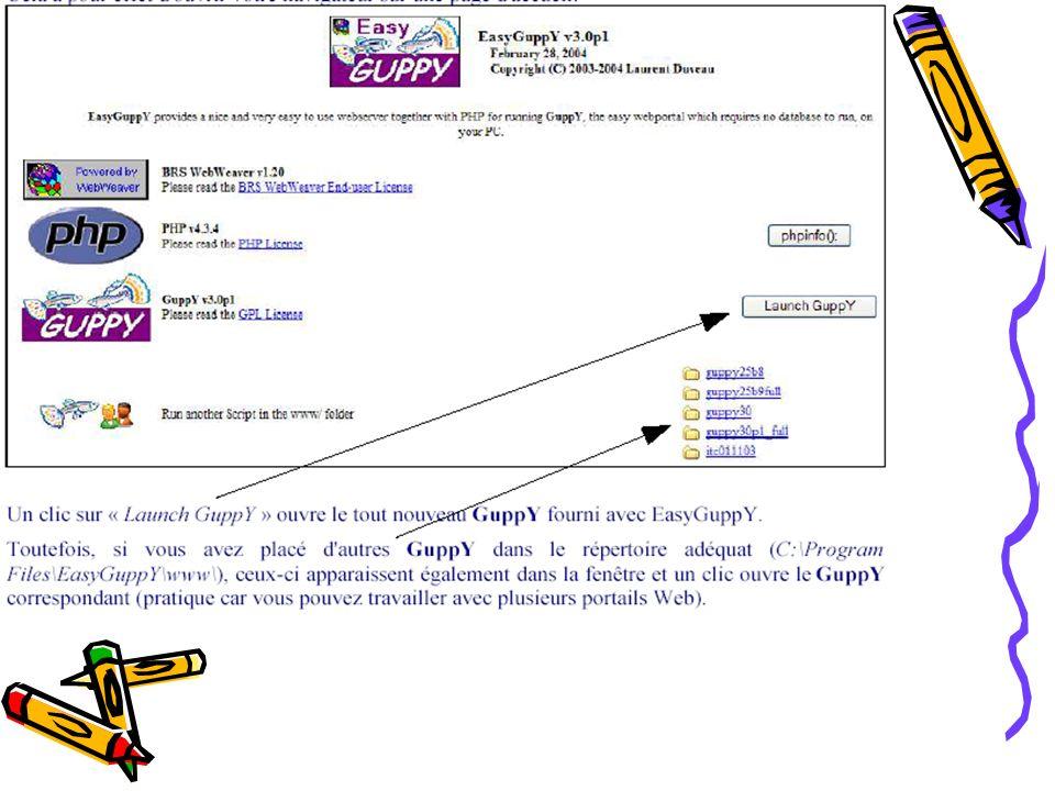 Note: Une fois EasyguppY lancé, une icône se place dans la barre des tâches à côté de l horloge.