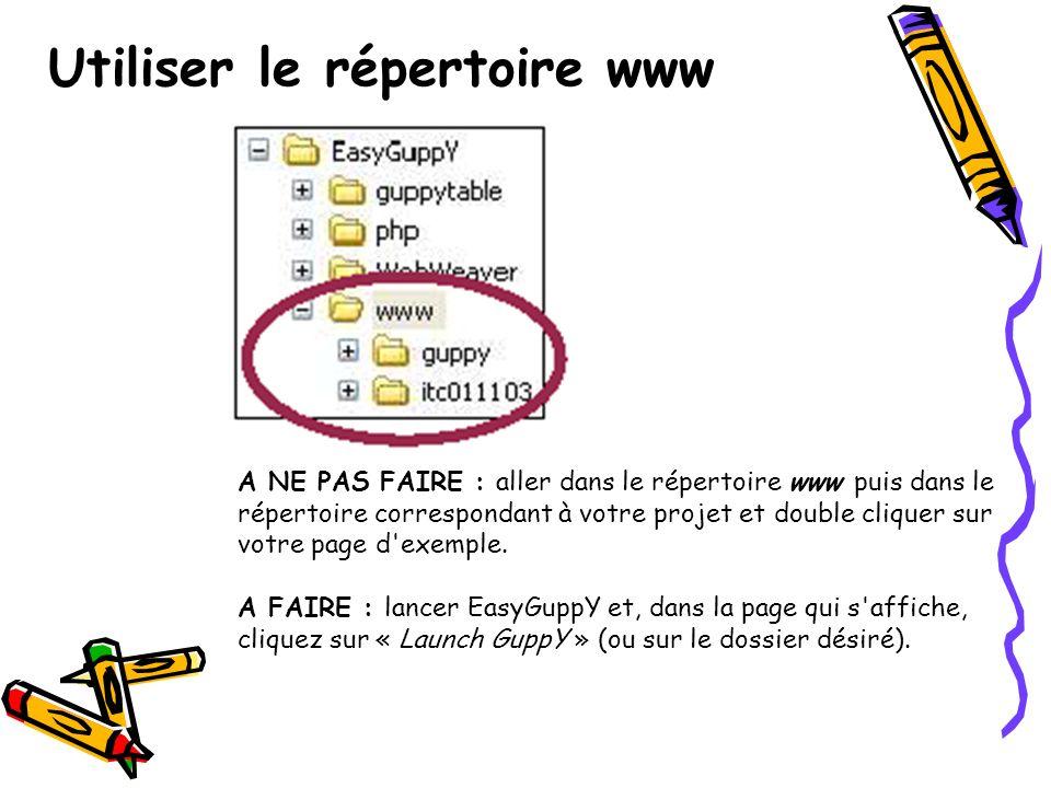 Utiliser le répertoire www A NE PAS FAIRE : aller dans le répertoire www puis dans le répertoire correspondant à votre projet et double cliquer sur votre page d exemple.