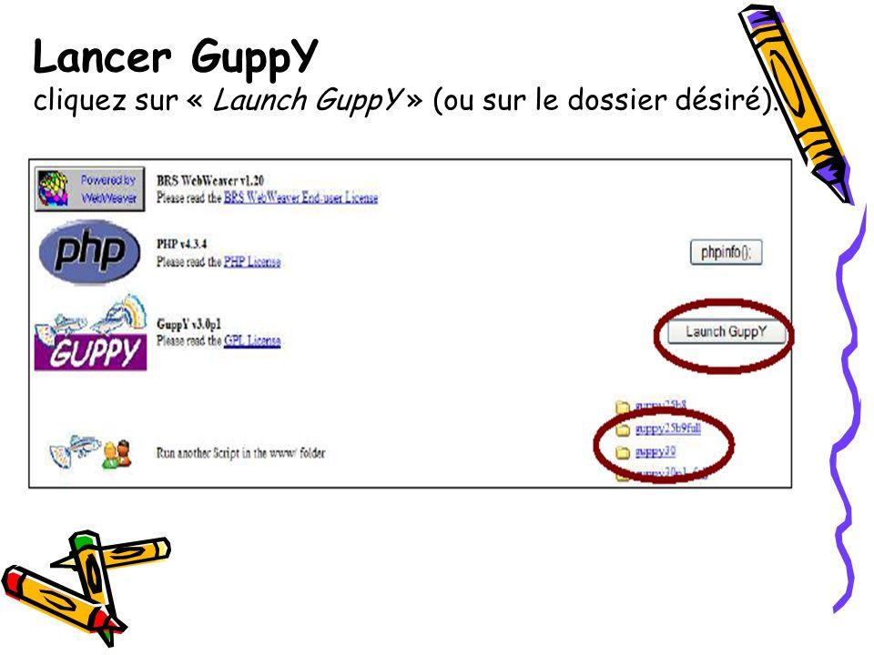 Configurer GuppY Cliquez sur « admin » située à droite dans la barre du haut.