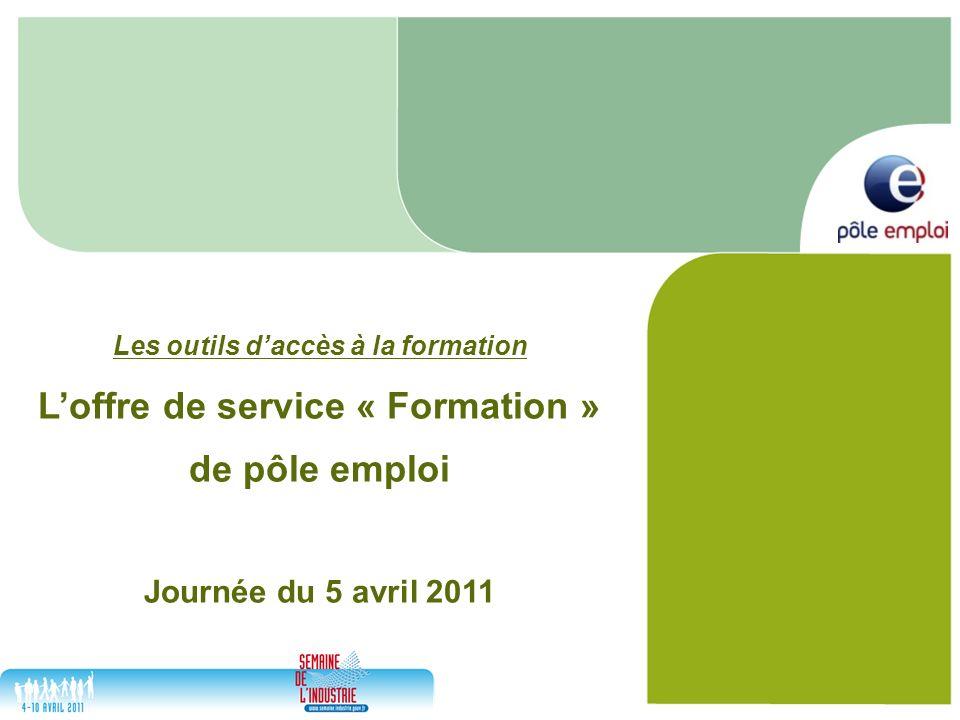 Les outils daccès à la formation Loffre de service « Formation » de pôle emploi Journée du 5 avril 2011