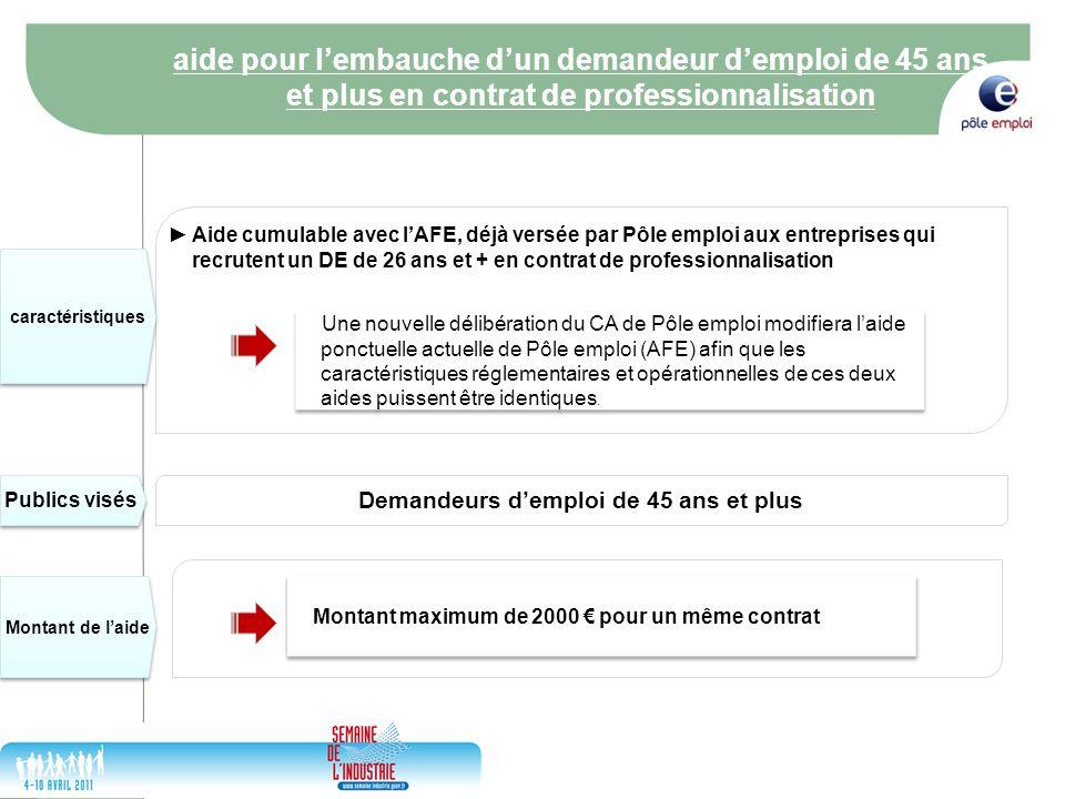 17/05/2014 4 Aide cumulable avec lAFE, déjà versée par Pôle emploi aux entreprises qui recrutent un DE de 26 ans et + en contrat de professionnalisati