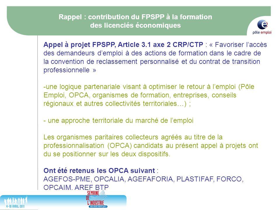 17/05/2014 5 Rappel : contribution du FPSPP à la formation des licenciés économiques Appel à projet FPSPP, Article 3.1 axe 2 CRP/CTP : « Favoriser lac