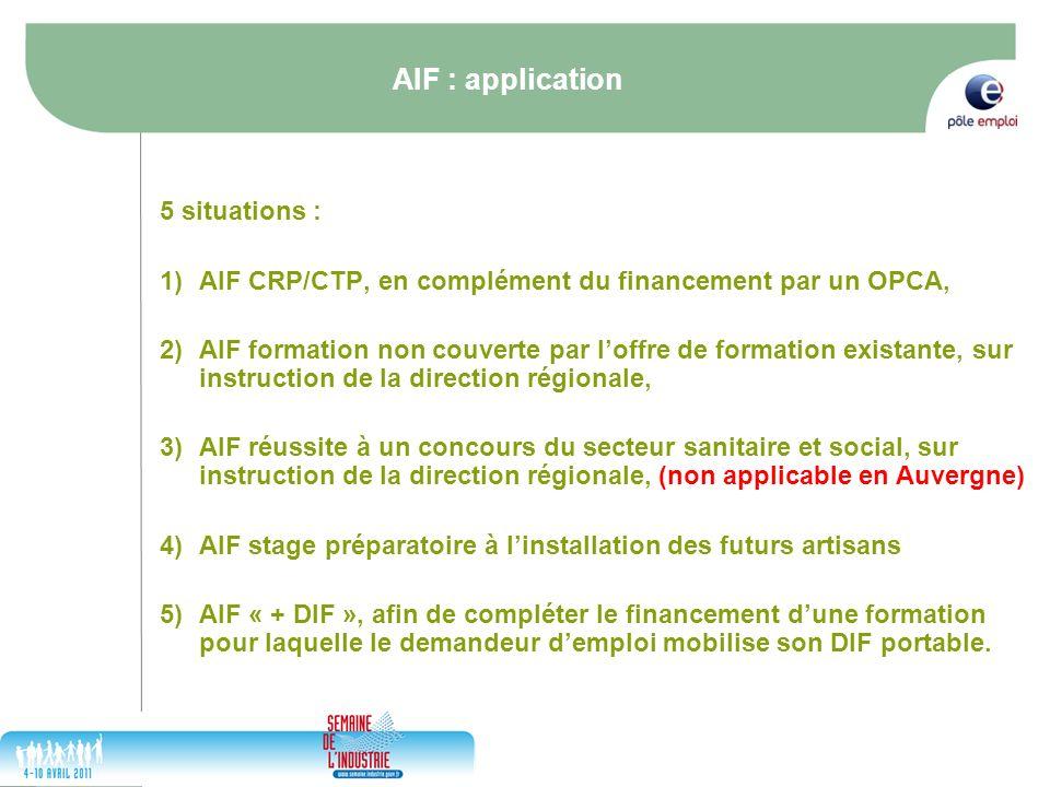 17/05/2014 8 AIF : application 5 situations : 1)AIF CRP/CTP, en complément du financement par un OPCA, 2)AIF formation non couverte par loffre de form
