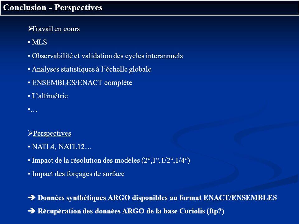 Conclusion - Perspectives Travail en cours MLS Observabilité et validation des cycles interannuels Analyses statistiques à léchelle globale ENSEMBLES/
