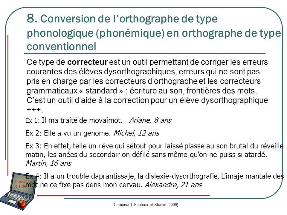 Fonctions daide Chouinard, Fauteux et Stanké (2009) 8. Conversion de lorthographe de type phonologique (phonémique) en orthographe de type conventionn