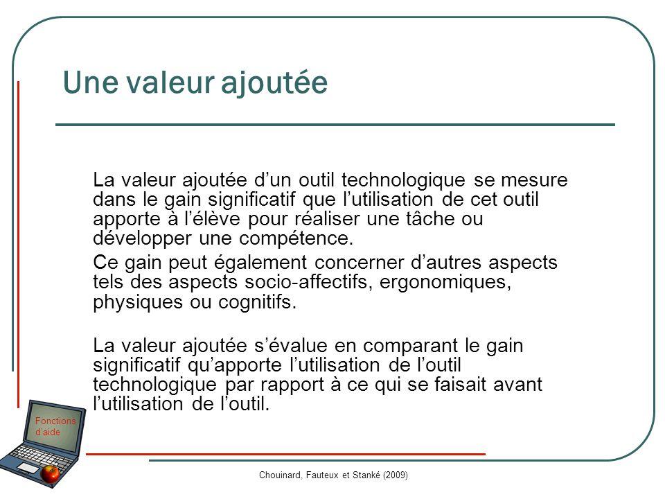 Fonctions daide Chouinard, Fauteux et Stanké (2009) Une valeur ajoutée La valeur ajoutée dun outil technologique se mesure dans le gain significatif q