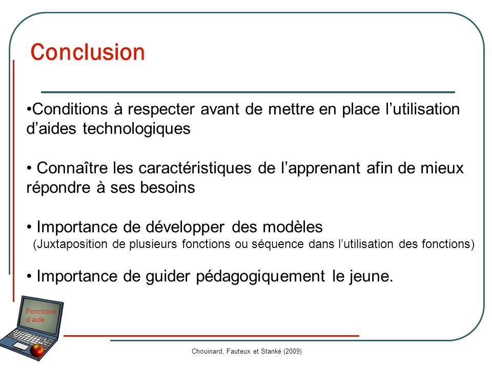 Fonctions daide Chouinard, Fauteux et Stanké (2009) Conclusion Conditions à respecter avant de mettre en place lutilisation daides technologiques Conn