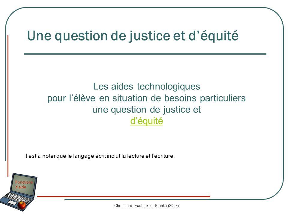 Fonctions daide Chouinard, Fauteux et Stanké (2009) Les aides technologiques pour lélève en situation de besoins particuliers une question de justice