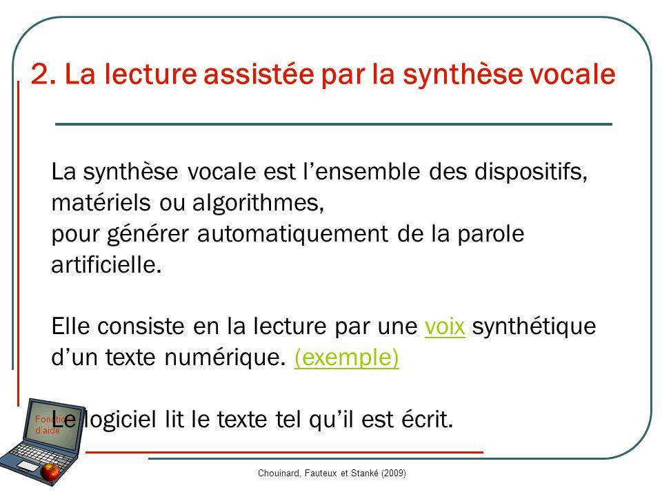 Fonctions daide Chouinard, Fauteux et Stanké (2009) 2. La lecture assistée par la synthèse vocale La synthèse vocale est lensemble des dispositifs, ma