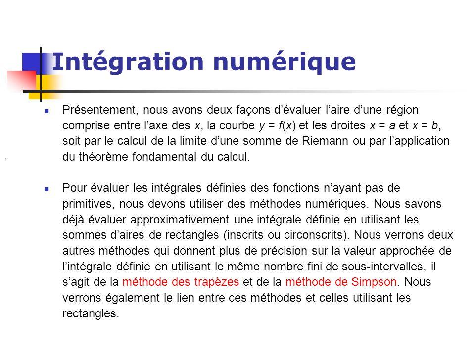 Intégration numérique Présentement, nous avons deux façons dévaluer laire dune région comprise entre laxe des x, la courbe y = f(x) et les droites x =