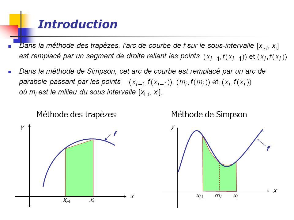 Introduction Dans la méthode des trapèzes, larc de courbe de f sur le sous-intervalle [x i-1, x i ] est remplacé par un segment de droite reliant les