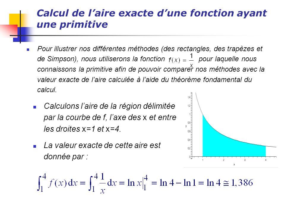 Calcul de laire exacte dune fonction ayant une primitive Pour illustrer nos différentes méthodes (des rectangles, des trapèzes et de Simpson), nous ut