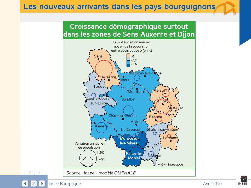 Page 11 Insee BourgogneAvril 2010 Les nouveaux arrivants dans les pays bourguignons