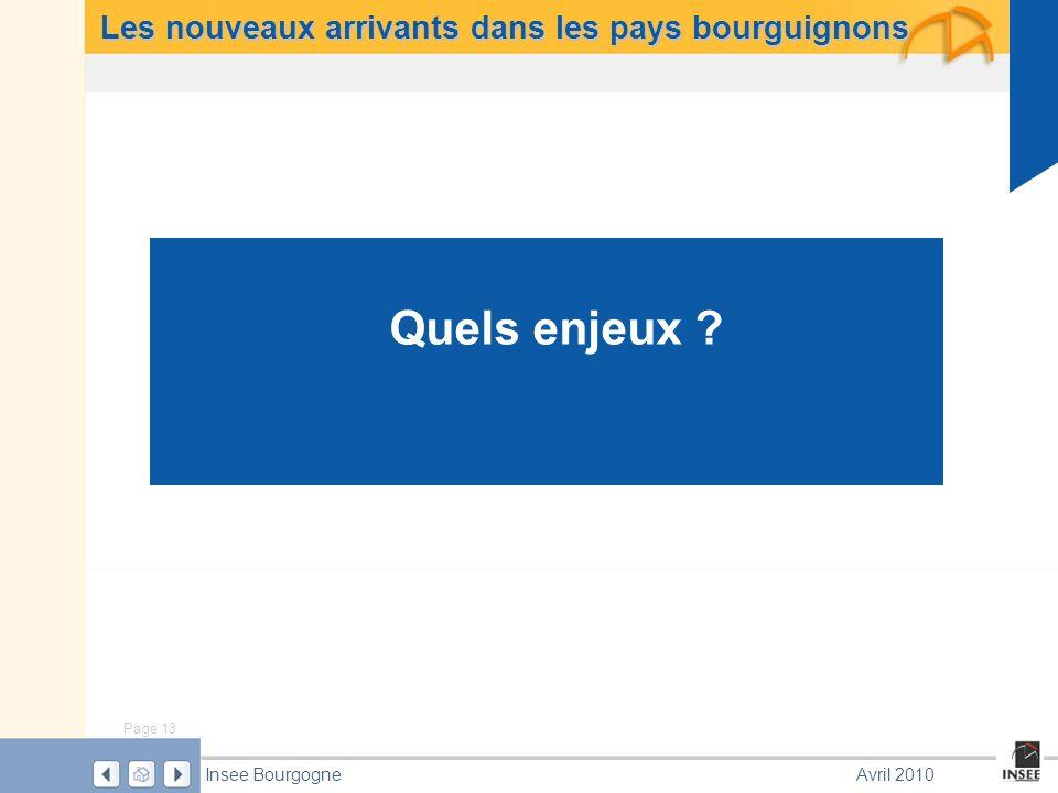 Page 13 Insee BourgogneAvril 2010 Les nouveaux arrivants dans les pays bourguignons Quels enjeux ?