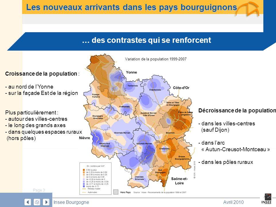 Page 3 Insee BourgogneAvril 2010 … des contrastes qui se renforcent Variation de la population 1999-2007 Les nouveaux arrivants dans les pays bourguignons Croissance de la population : - au nord de lYonne - sur la façade Est de la région Plus particulièrement : - autour des villes-centres - le long des grands axes - dans quelques espaces ruraux (hors pôles) Décroissance de la population : - dans les villes-centres (sauf Dijon) - dans larc « Autun-Creusot-Montceau » - dans les pôles ruraux