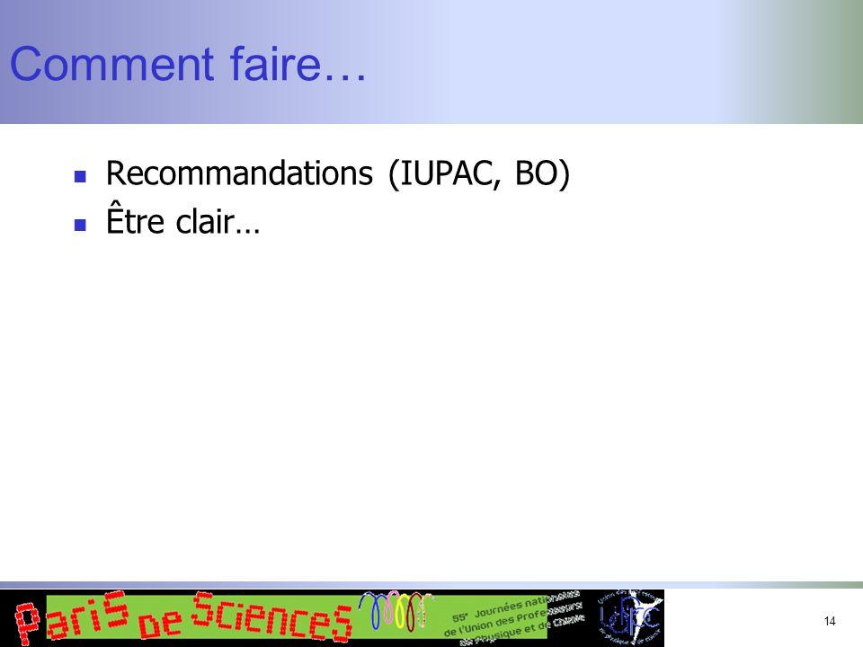 14 Comment faire… Recommandations (IUPAC, BO) Être clair…