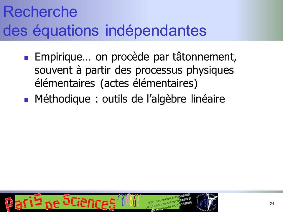24 Recherche des équations indépendantes Empirique… on procède par tâtonnement, souvent à partir des processus physiques élémentaires (actes élémentai