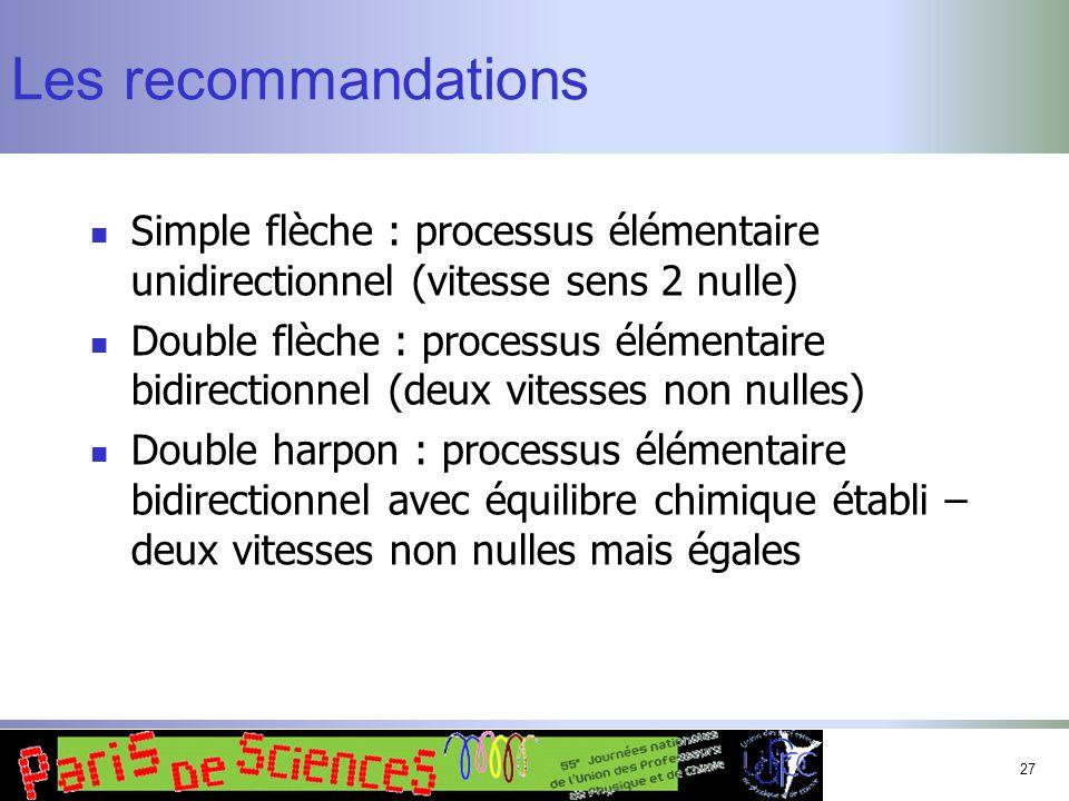 27 Les recommandations Simple flèche : processus élémentaire unidirectionnel (vitesse sens 2 nulle) Double flèche : processus élémentaire bidirectionn