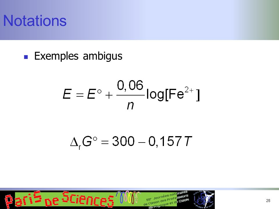 28 Notations Exemples ambigus