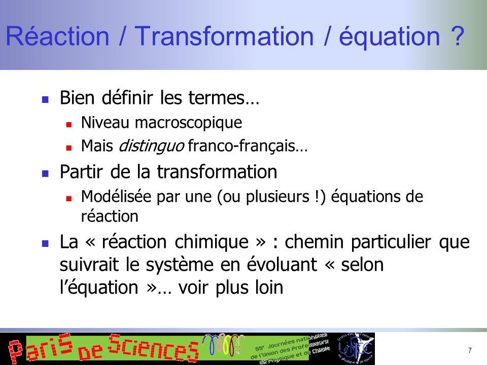 8 Transformation réversible / renversable Renversable : le retour à létat initial est possible, mais par un chemin qui peut être différent du chemin direct Réversible : le retour à létat initial est effectué par le même chemin, avec les mêmes échanges énergétiques.
