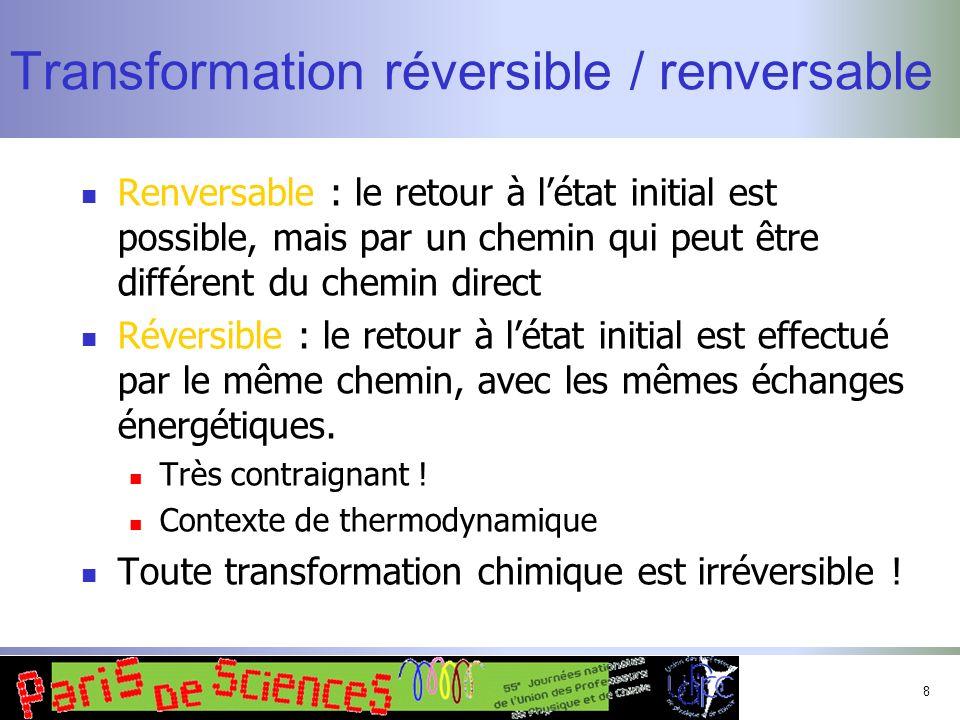 8 Transformation réversible / renversable Renversable : le retour à létat initial est possible, mais par un chemin qui peut être différent du chemin d