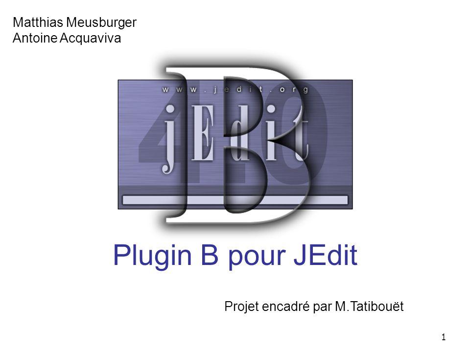 1 Matthias Meusburger Antoine Acquaviva Plugin B pour JEdit Projet encadré par M.Tatibouët