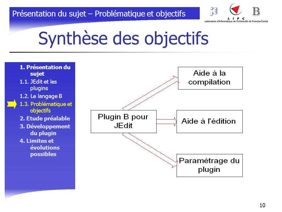 10 Synthèse des objectifs 1. Présentation du sujet 1.1. JEdit et les plugins 1.2. Le langage B 1.3. Problématique et objectifs 2. Etude préalable 3. D