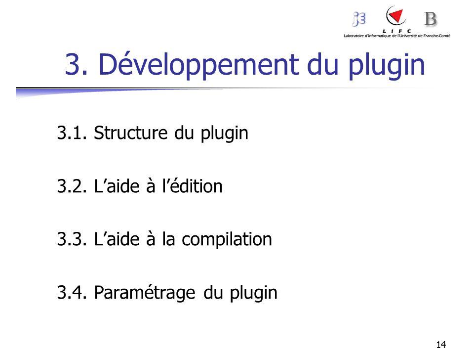 14 3. Développement du plugin 3.1. Structure du plugin 3.2. Laide à lédition 3.3. Laide à la compilation 3.4. Paramétrage du plugin