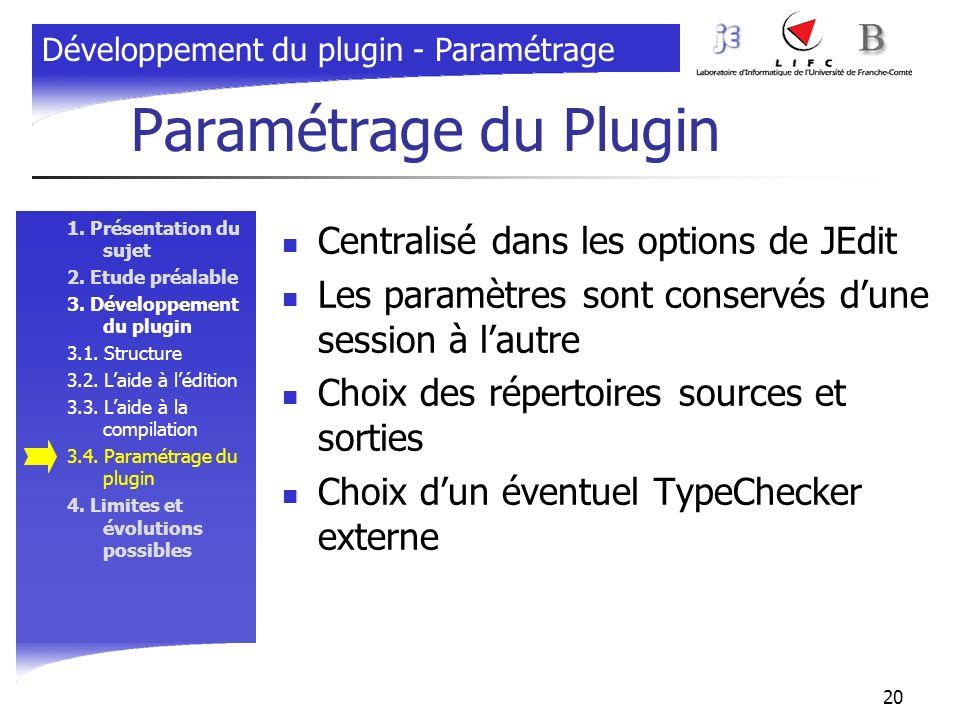 20 Paramétrage du Plugin 1. Présentation du sujet 2. Etude préalable 3. Développement du plugin 3.1. Structure 3.2. Laide à lédition 3.3. Laide à la c