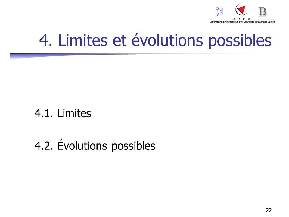 22 4. Limites et évolutions possibles 4.1. Limites 4.2. Évolutions possibles