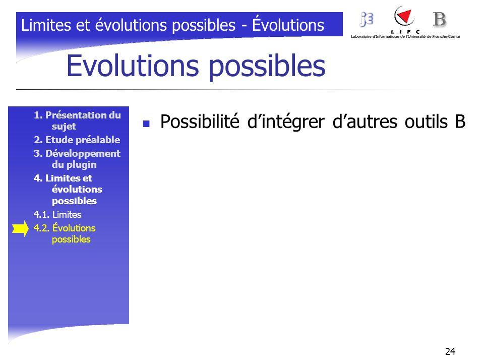 24 Evolutions possibles 1. Présentation du sujet 2. Etude préalable 3. Développement du plugin 4. Limites et évolutions possibles 4.1. Limites 4.2. Év