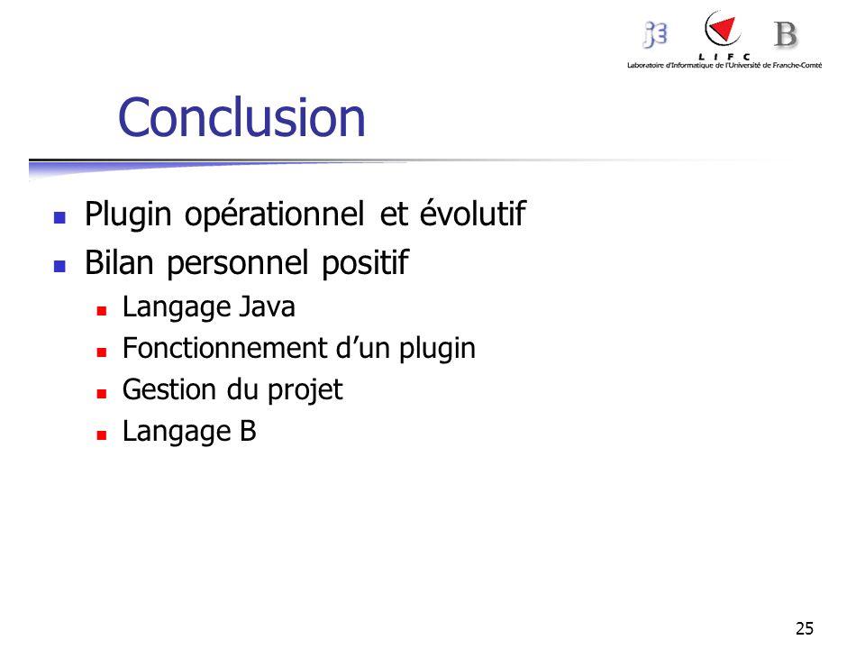 25 Conclusion Plugin opérationnel et évolutif Bilan personnel positif Langage Java Fonctionnement dun plugin Gestion du projet Langage B