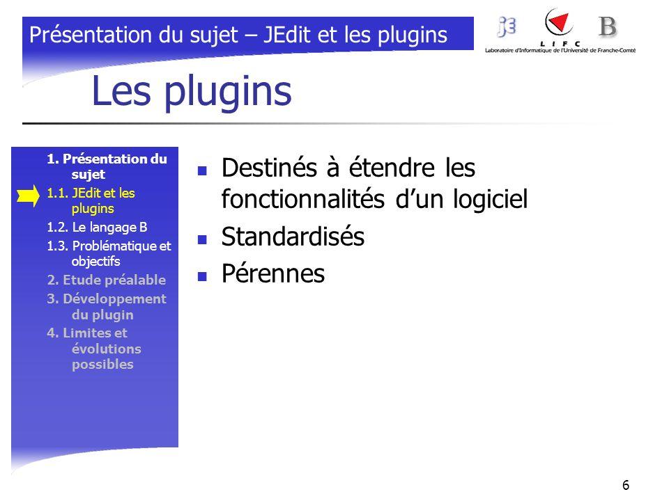 6 Les plugins 1. Présentation du sujet 1.1. JEdit et les plugins 1.2. Le langage B 1.3. Problématique et objectifs 2. Etude préalable 3. Développement