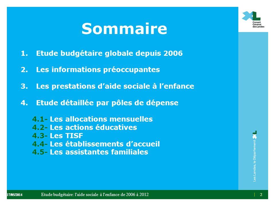 2 Sommaire 1.Etude budgétaire globale depuis 2006 2.Les informations préoccupantes 3.Les prestations daide sociale à lenfance 4.Etude détaillée par pô