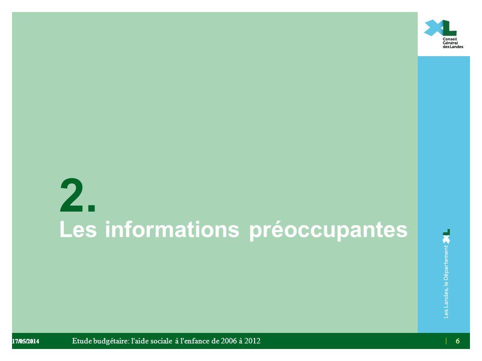 6 2. Les informations préoccupantes 66 Etude budgétaire: l'aide sociale à l'enfance de 2006 à 2012 17/05/2014