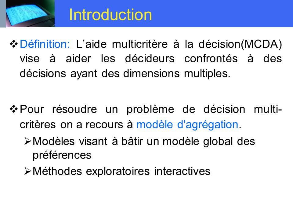 Introduction Définition: Laide multicritère à la décision(MCDA) vise à aider les décideurs confrontés à des décisions ayant des dimensions multiples.