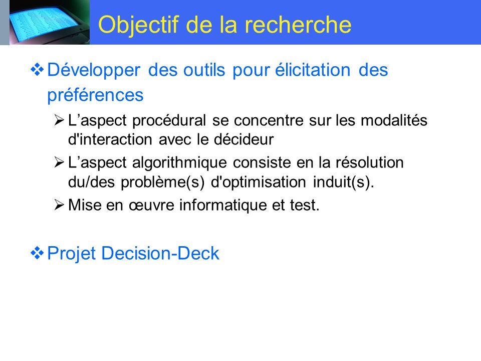 Objectif de la recherche Développer des outils pour élicitation des préférences Laspect procédural se concentre sur les modalités d'interaction avec l