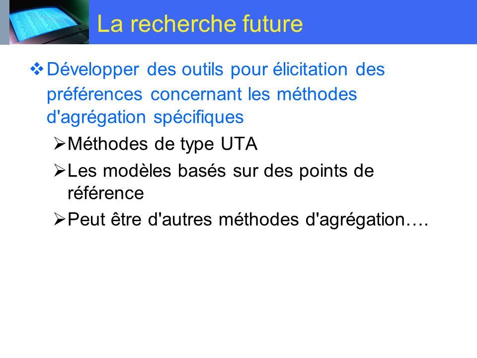 La recherche future Développer des outils pour élicitation des préférences concernant les méthodes d'agrégation spécifiques Méthodes de type UTA Les m