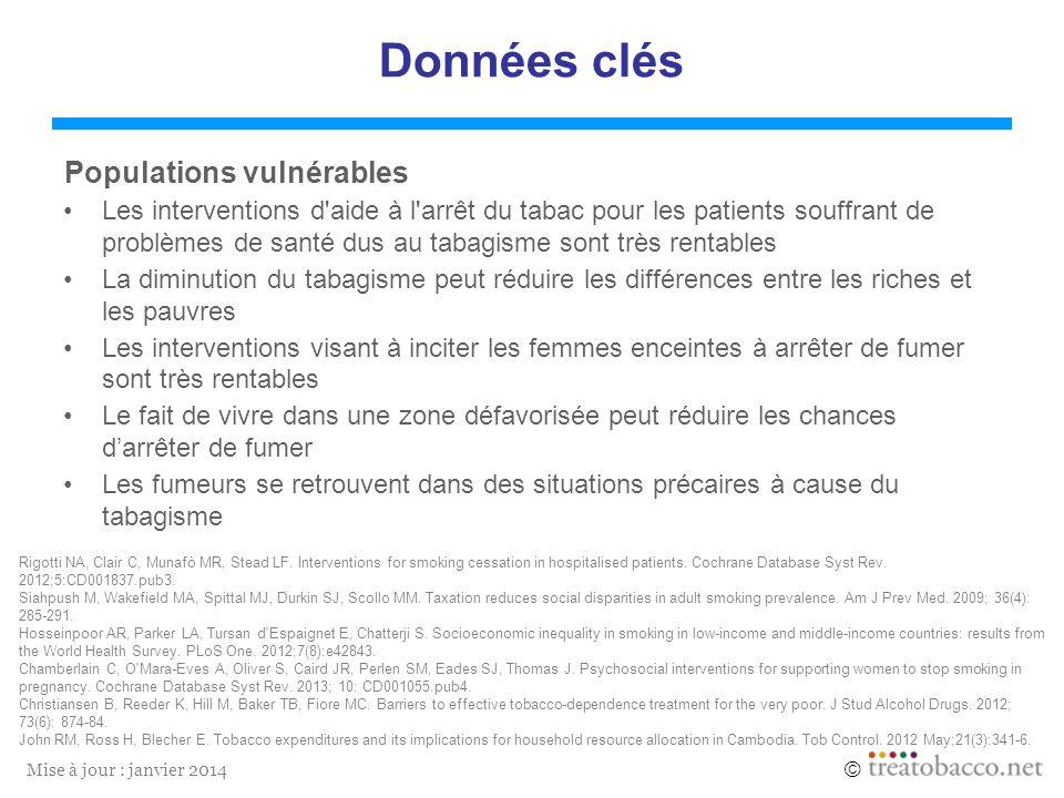 Mise à jour : janvier 2014 Données clés Populations vulnérables Les interventions d'aide à l'arrêt du tabac pour les patients souffrant de problèmes d