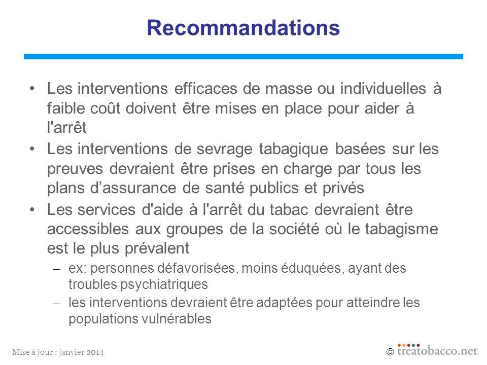Mise à jour : janvier 2014 Recommandations Les interventions efficaces de masse ou individuelles à faible coût doivent être mises en place pour aider
