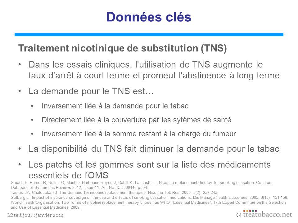 Mise à jour : janvier 2014 Données clés Traitement nicotinique de substitution (TNS) Dans les essais cliniques, l'utilisation de TNS augmente le taux
