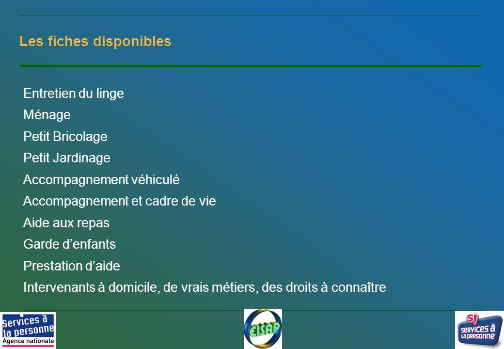 8 Les fiches disponibles Entretien du linge Ménage Petit Bricolage Petit Jardinage Accompagnement véhiculé Accompagnement et cadre de vie Aide aux rep