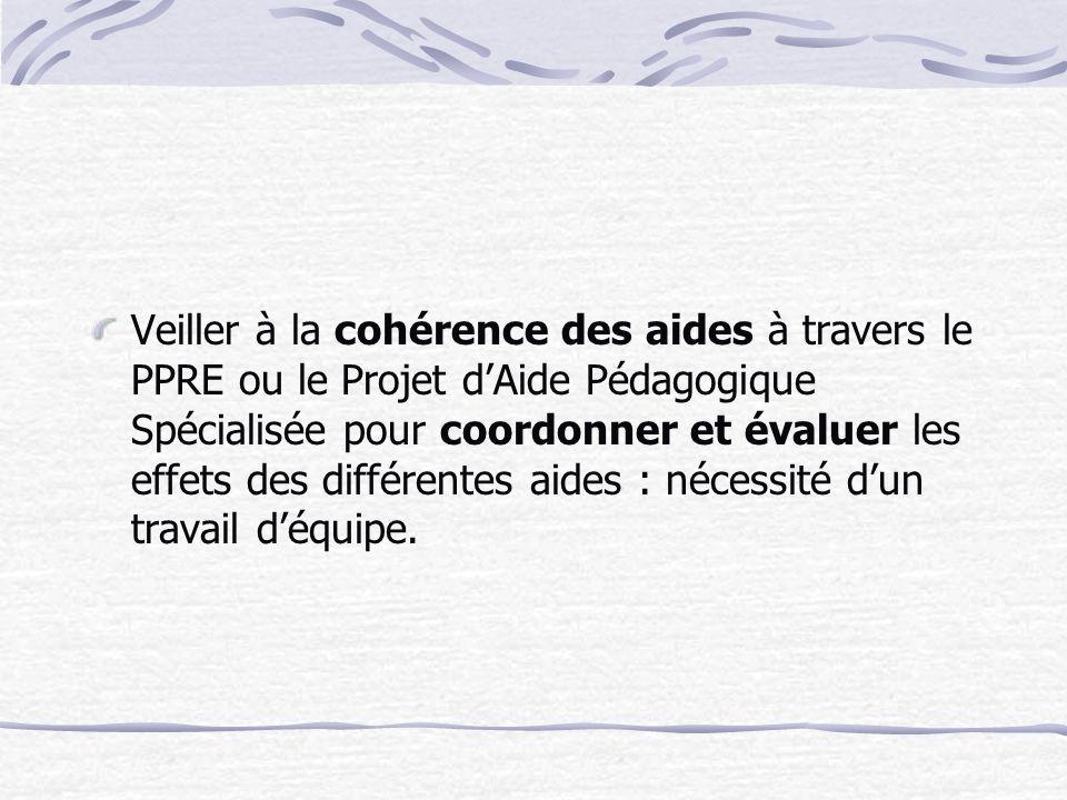 Veiller à la cohérence des aides à travers le PPRE ou le Projet dAide Pédagogique Spécialisée pour coordonner et évaluer les effets des différentes aides : nécessité dun travail déquipe.