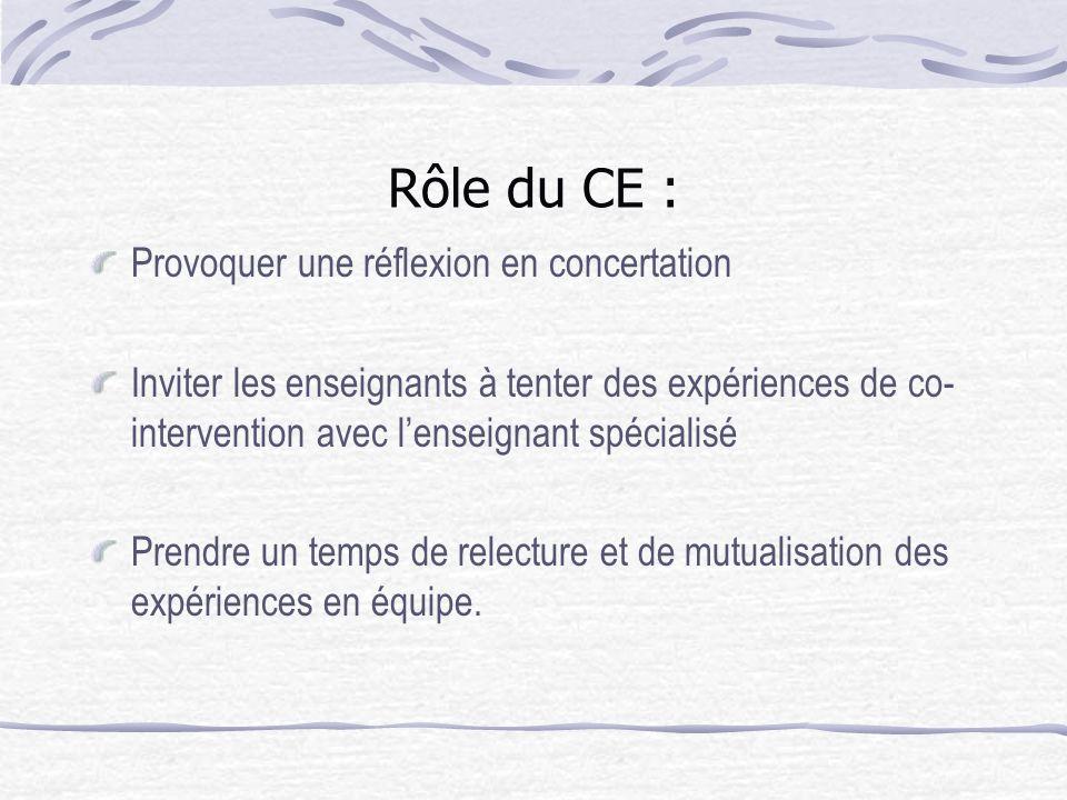 Rôle du CE : Provoquer une réflexion en concertation Inviter les enseignants à tenter des expériences de co- intervention avec lenseignant spécialisé Prendre un temps de relecture et de mutualisation des expériences en équipe.