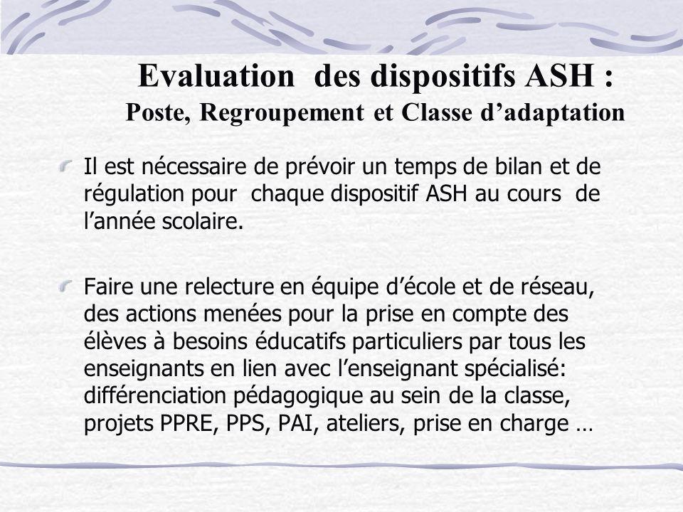 Evaluation des dispositifs ASH : Poste, Regroupement et Classe dadaptation Il est nécessaire de prévoir un temps de bilan et de régulation pour chaque dispositif ASH au cours de lannée scolaire.