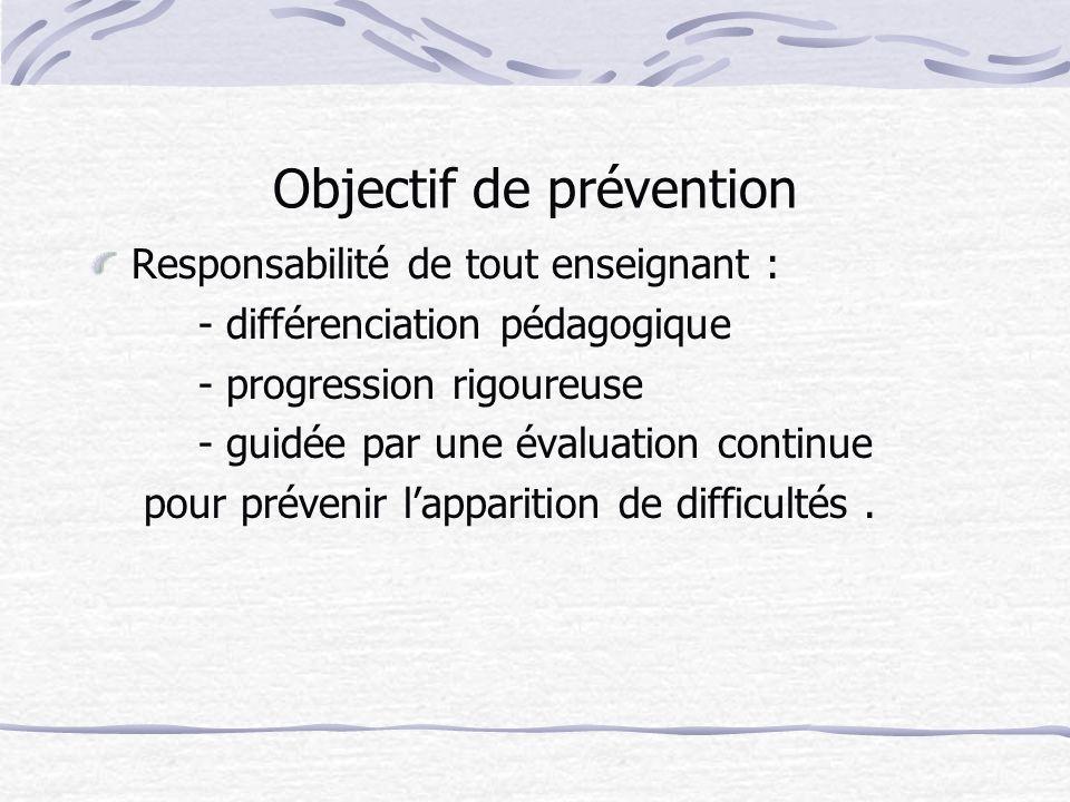 Objectif de prévention Responsabilité de tout enseignant : - différenciation pédagogique - progression rigoureuse - guidée par une évaluation continue pour prévenir lapparition de difficultés.