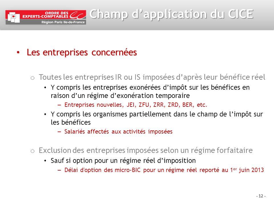 - 12 - Champ dapplication du CICE Les entreprises concernées Les entreprises concernées o Toutes les entreprises IR ou IS imposées daprès leur bénéfic