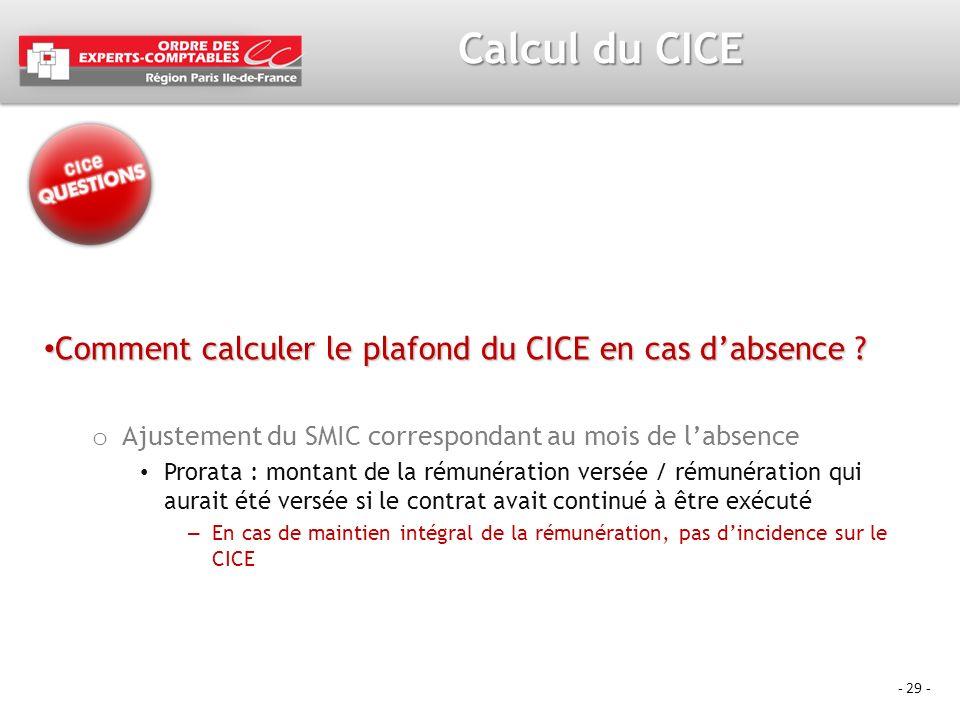 - 29 - Calcul du CICE Comment calculer le plafond du CICE en cas dabsence ? Comment calculer le plafond du CICE en cas dabsence ? o Ajustement du SMIC